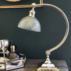 Medium Curve Study Lamp with Ribbed Glass Shade