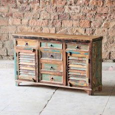 Thakat Upcycled 6 Drawer 2 Slatted Door Sideboard