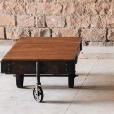 Telford Industrial Coffee Table Cart