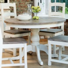 French Country Wooden Seat Dining Chair