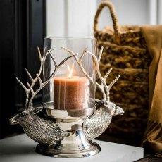 Stag Heads Glass Hurricane Lantern