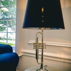 Armstrong Trumpet Lamp with Black Shade