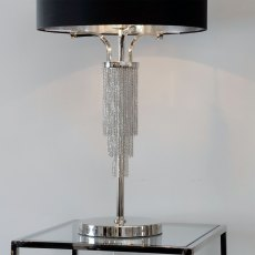 Langham Table Lamp In Nickel With Black Shade
