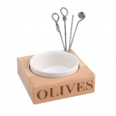 'OLIVES' Beech Wood Holder with Porcelain Dish & Picks
