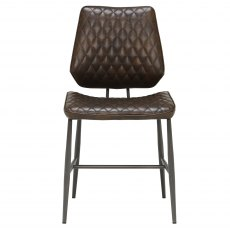 Dalton Dining Chair in Dark Brown Faux Leather