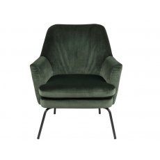 Chisa Resting Chair In Forest Green Velvet Upholstery