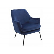 Chisa Resting Chair In Navy Blue Velvet Upholstery