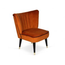 Juliette Chair In Burnt Orange Fabric with Ebony Piping