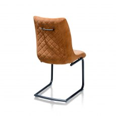 Armino Dining Chair in Ochre Knitted Velvet