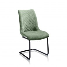 Armino Chair in Olive Fabric with Cantilever Frame