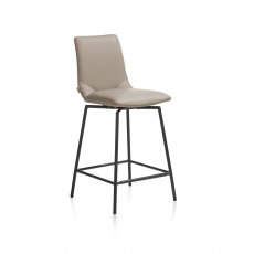 Davy Bar Stool - Black Frame - Taupe Fabric