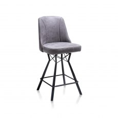 Freddy Bar Stool - Black Frame - Anthracite Fabric