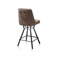 Freddy Bar Stool - Black Frame - Taupe Fabric