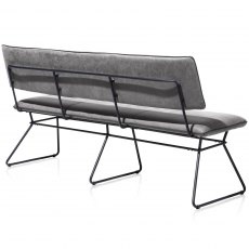 Ollie 160cm Bench - Black Frame - Anthracite Fabric