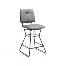 Ollie Bar Stool - Black Frame - Anthracite Fabric