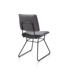 Ollie Dining Chair - Black Frame - Anthracite Fabric