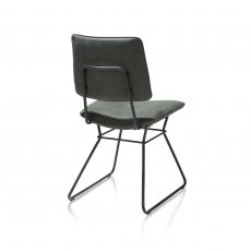 Ollie Dining Chair - Black Frame - Green Fabric