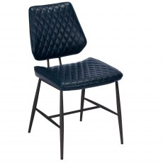 Dalton Dining Chair In Dark Blue Faux Leather