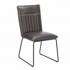 Cooper Dining Chair In Grey Faux Leather