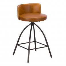 Dylan Bar Stool In Tan Faux Leather