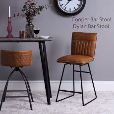 Cooper Swivel Bar Stool In Tan Faux Leather