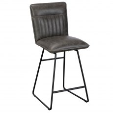Cooper Bar Stool In Grey Faux Leather