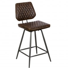 Dalton Bar Stool In Brown Faux Leather