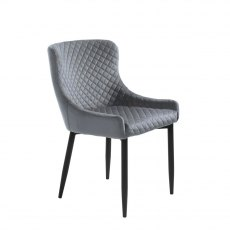 Ontario Dining Chair In Grey Velvet Fabric