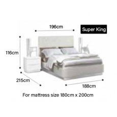 Bianca Super King Size Bed Frame with LED & Orthopaedic Slats