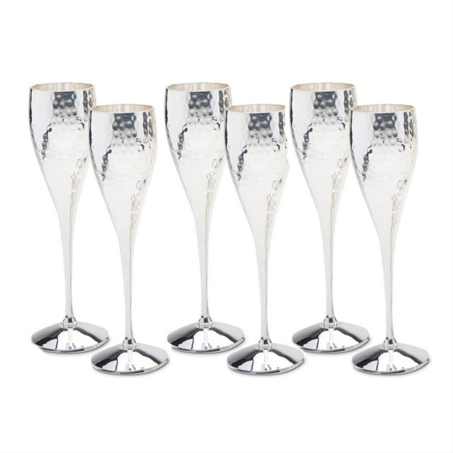 Set of Six Hammered Champagne Goblets