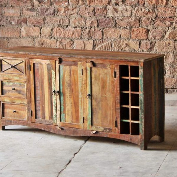 Ratia Upcycled 3 Drawer 3 Door Wine Rack