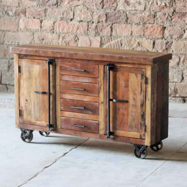 Telford Industrial Sideboard on Wheels