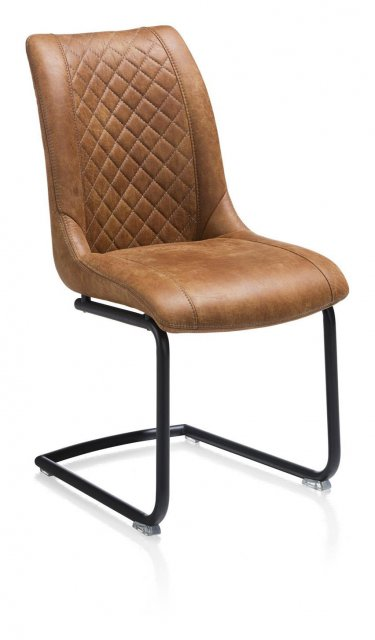 Armino Chair - Off Black Cantilever Frame - Secilla Cognac Fabric