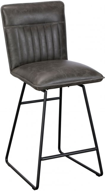 Cooper Swivel Bar Stool In Grey Faux Leather